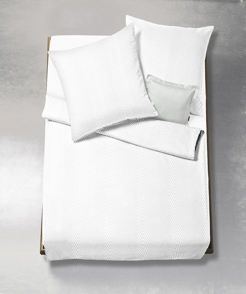 Fleuresse Jade Mako Damast Bettwäsche Weiß 1000 Boudoir