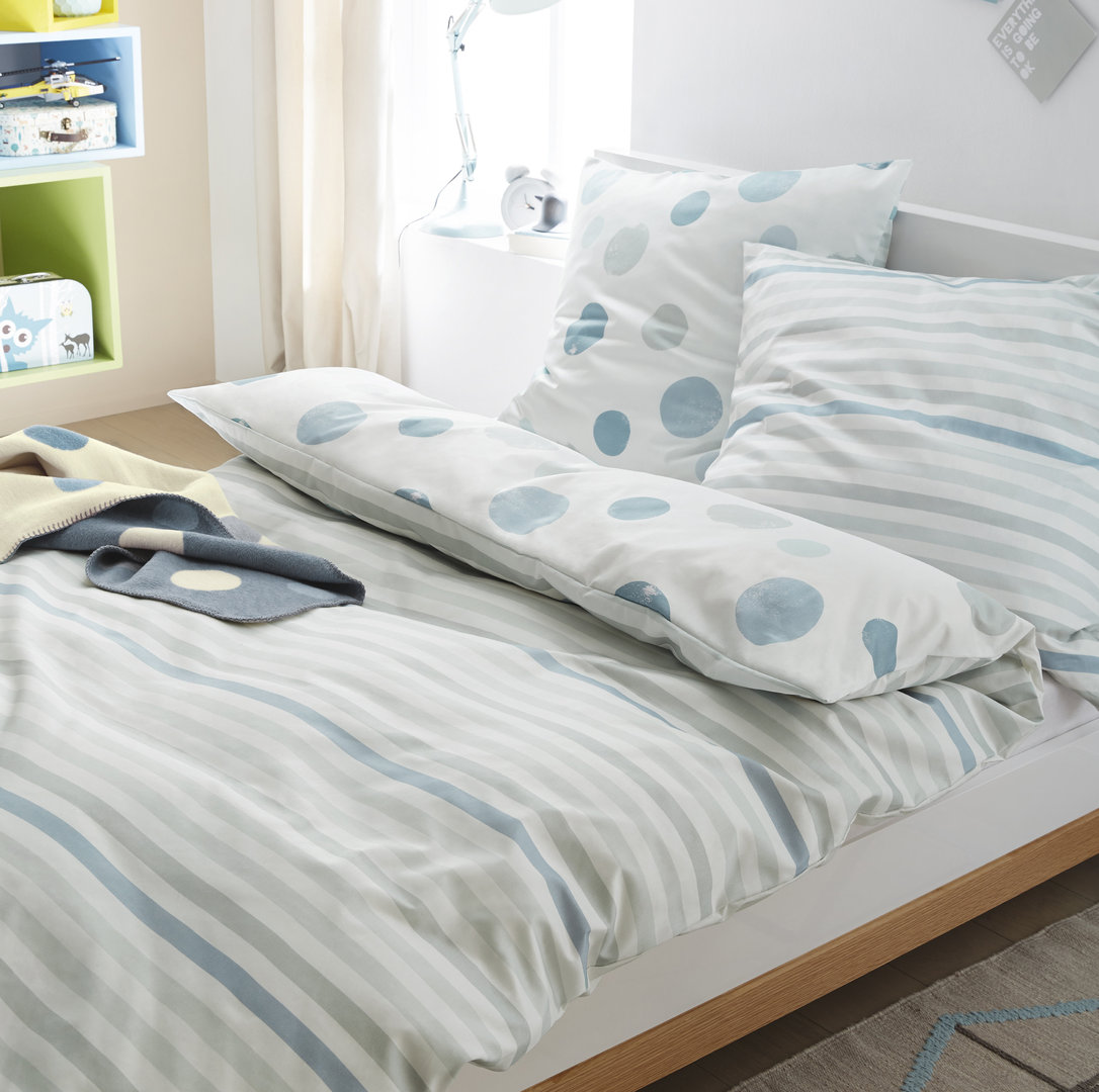Soliver Feinflanell Bettwäsche 630 Blau Grau Boudoir