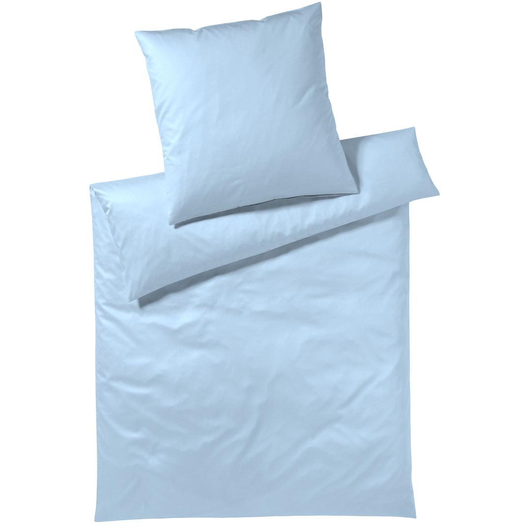 Elegante Jersey Bettwäsche Honeymoon Uni Solid Hellblau 02
