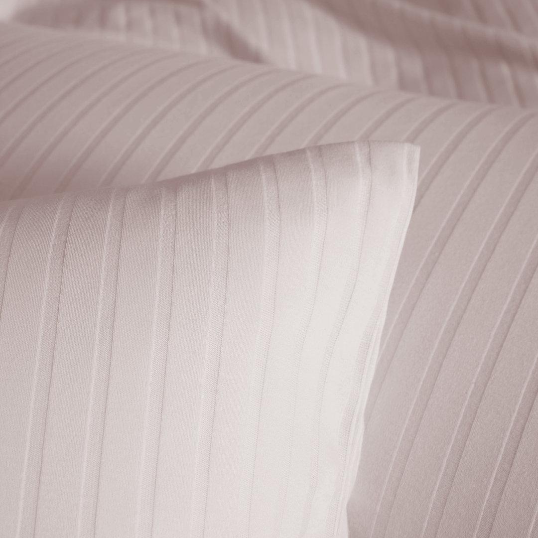 Elegante Jersey Bettwäsche Honeymoon Solid Stripe Rose 01