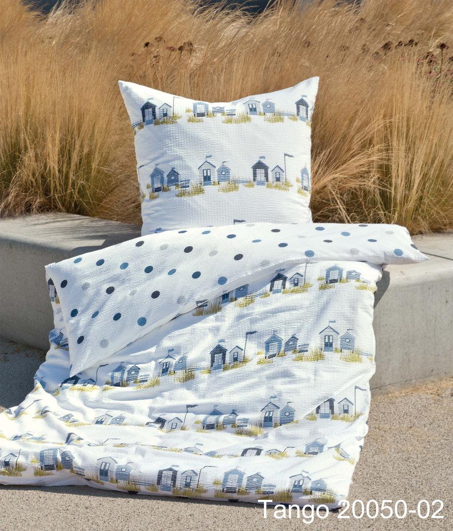 Seersucker Bettwäsche 135 x 200 gelb weiß Streifen Sommer Bügelfrei gestreift
