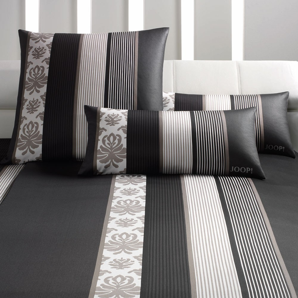 joop ornament stripes mako satin bettw sche schwarz 09 boudoir. Black Bedroom Furniture Sets. Home Design Ideas